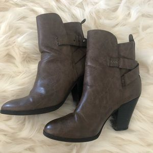 Gray faux leather booties